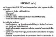 Stellenausschreibung – Bürokraft, Sachsenring GmbH