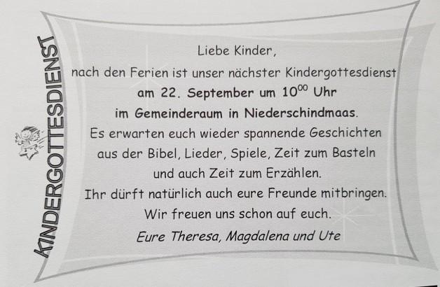 Herzliche Einladung an alle Kinder: