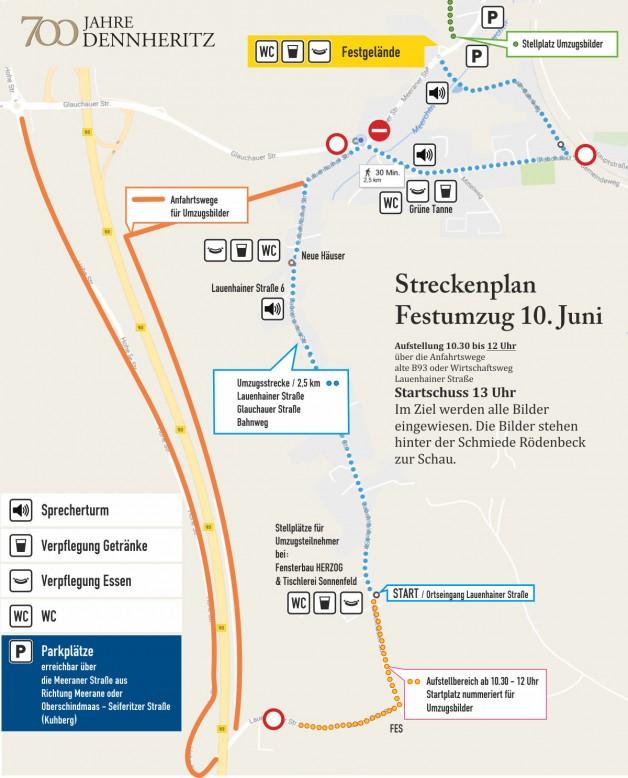 Streckenplan des Festumzugs 700 Jahre Dennheritz für Gäste