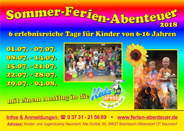 Sommer-Ferien-Abenteuer für Kinder von 6 bis 16 Jahren